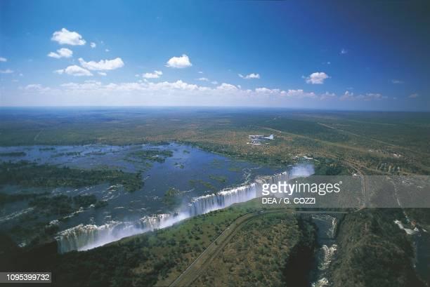 Aerial view of the Victoria Falls on the Zambezi River Zimbabwe