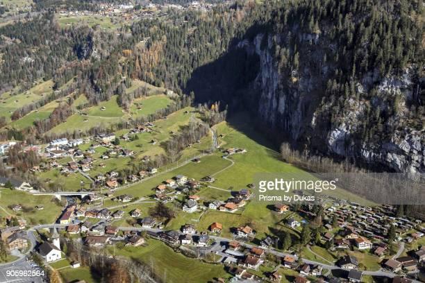 Aerial view of the village Lauterbrunnen