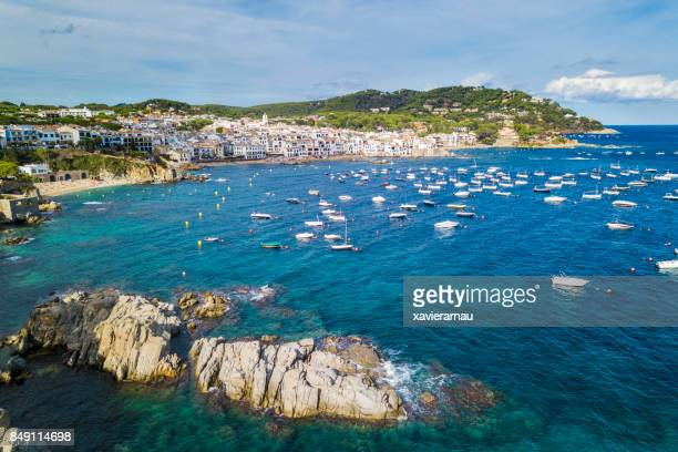 Aerial view of the village of Calella de Palafrugell, Costa Brava