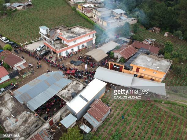 Aerial view of the village of Los Mendoza San Juan Ostuncalco municipality Quetzaltenango departament 115 km west of Guatemala City taken during the...