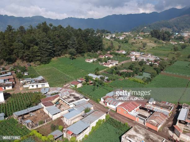 Aerial view of the village of Los Mendoza San Juan Ostuncalco municipality Quetzaltenango departament 115 km west of Guatemala City taken as the wake...