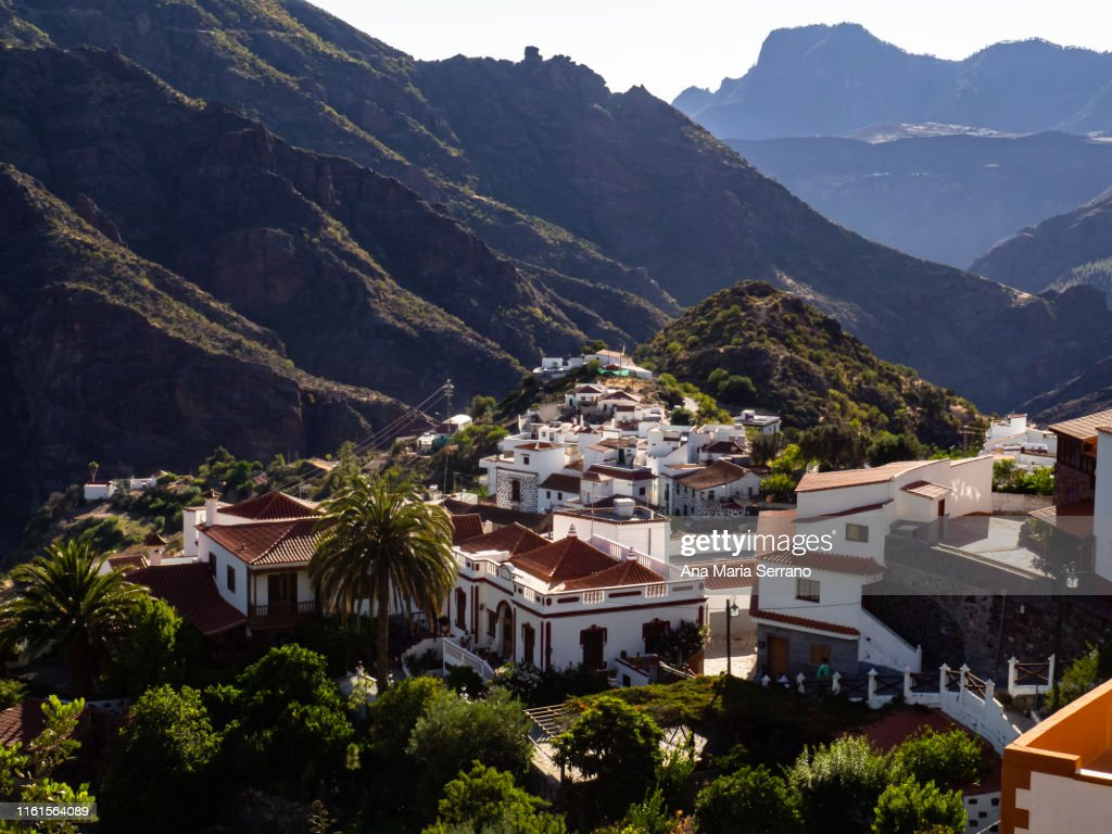 "Aerial view of the village Tejeda and the natural space ""Risco Caído and the Sacred Spaces of Montaña de Gran Canaria"", Gran Canaria island, Canary Islands, Spain : Stock Photo"