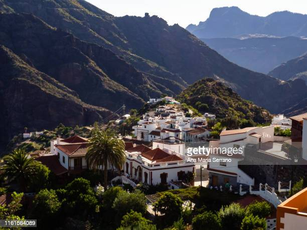 """aerial view of the village tejeda and the natural space """"risco caído and the sacred spaces of montaña de gran canaria"""", gran canaria island, canary islands, spain - tejeda stock pictures, royalty-free photos & images"""