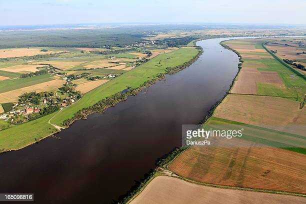Aerial view of the Vistula river and cultivated fields