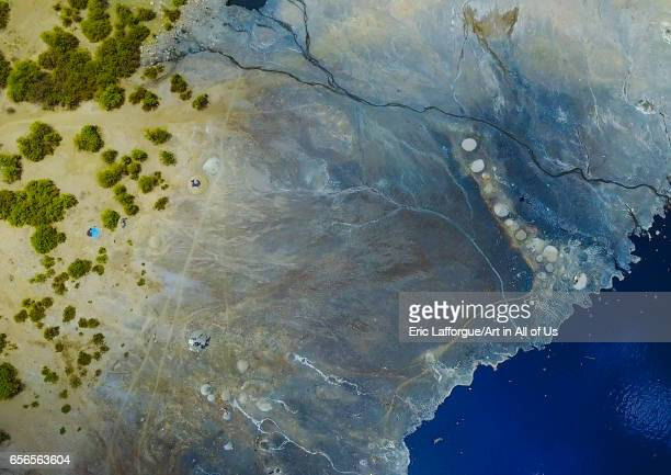 Aerial view of the volcano crater where Borana tribe men dive to collect salt Oromia El Sod Ethiopia on March 4 2017 in El Sod Ethiopia