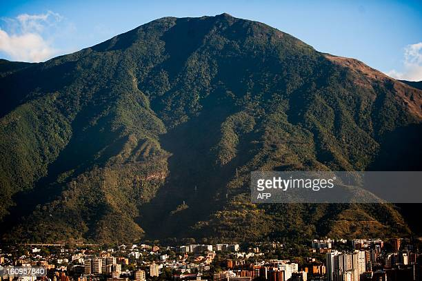 Aerial view of the Waraira Repano mountain also called El Avila in Venezuelan capital Caracas taken on February 15 2012 AFP PHOTO/Leo RAMIREZ / AFP...