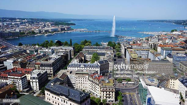 Aerial view of the water fountain in Geneva