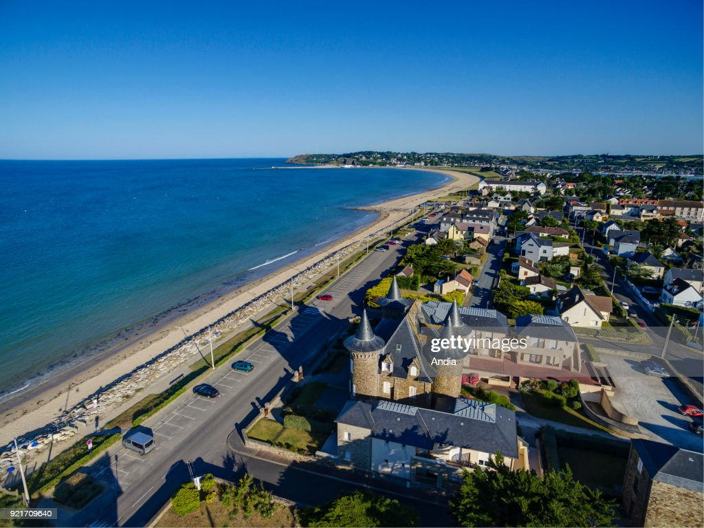 Aerial view of the waterfront in Barneville-Carteret. : News Photo