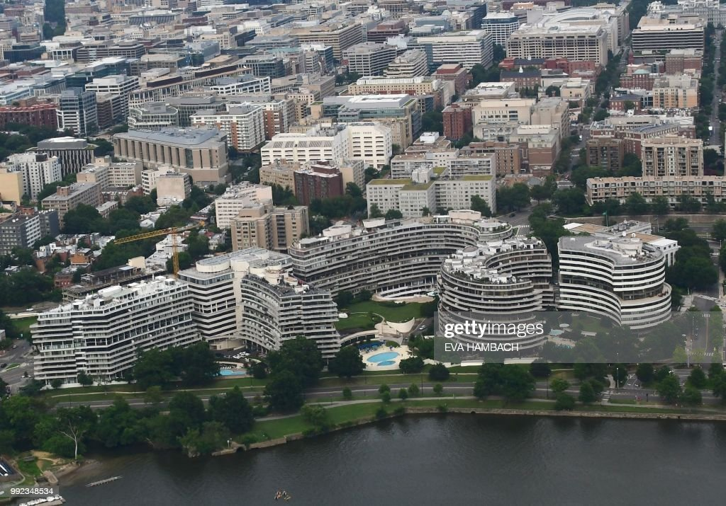 aerial view of the watergate complex on the potomac river in