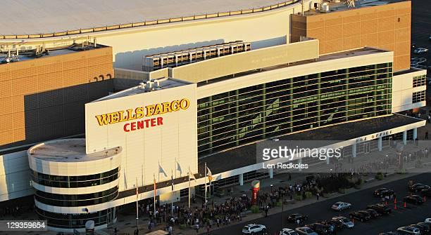 A aerial view of the Wells Fargo Center on October 12 2011 in Philadelphia Pennsylvania