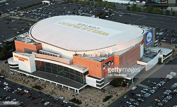 A aerial view of the Wells Fargo Center on October 12 2011 in Philadelphia Pennsylvania