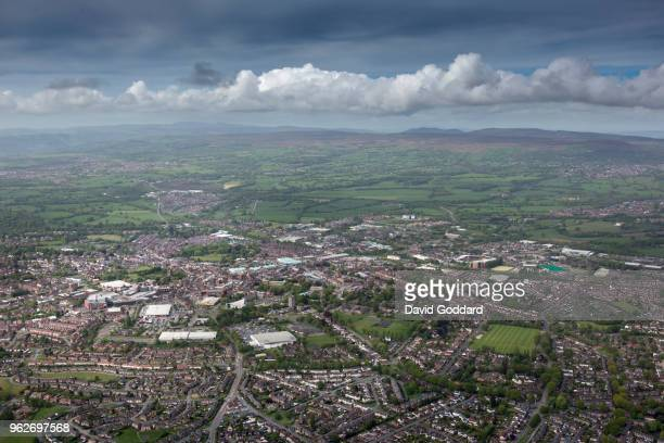 Aerial view of the welsh town Wrexham town centre on the May 12th 2018 located on the English Welsh border 10 miles south west of Chester g