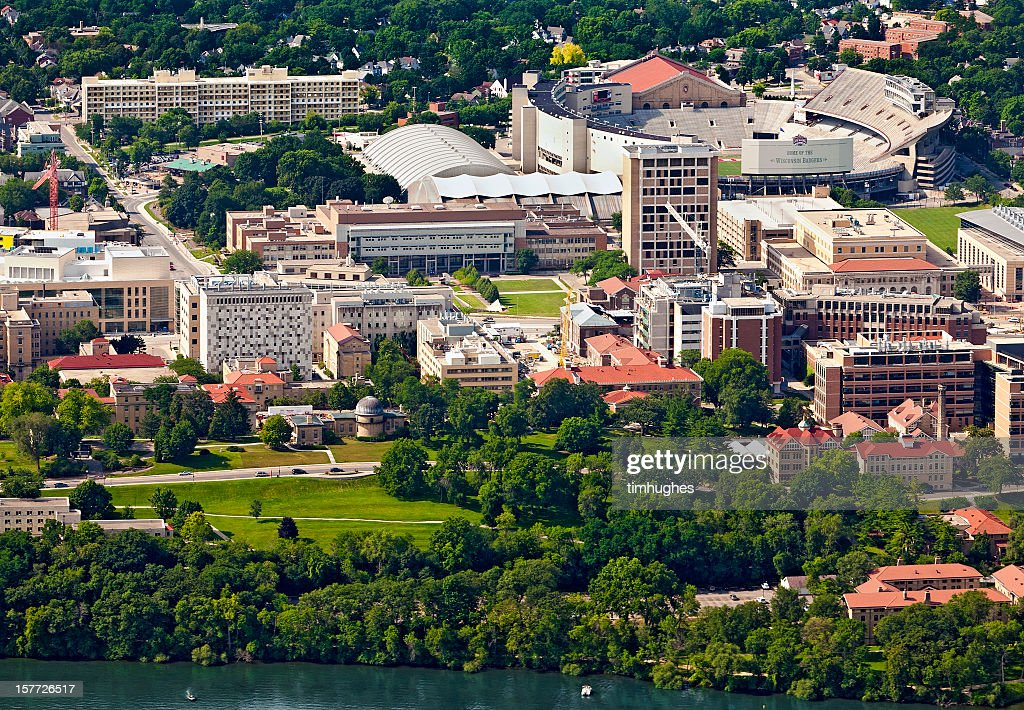 Aerial view of the west campus in Madison, Wisconsin : Stock Photo