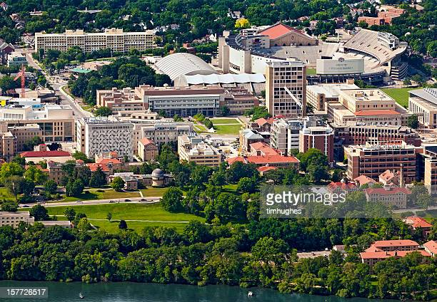 aerial view of the west campus in madison, wisconsin - madison wisconsin stock pictures, royalty-free photos & images