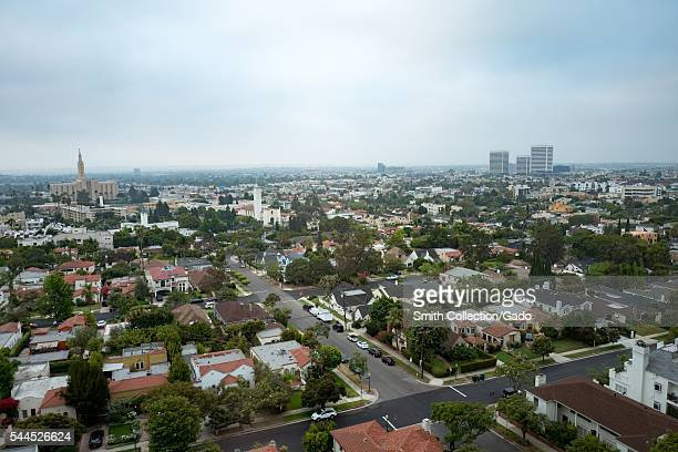 Aerial view of the Westwood neighborhood of Los Angeles on a hazy morning with the Los Angeles Temple of the Church of Jesus Christ of LatterDay...