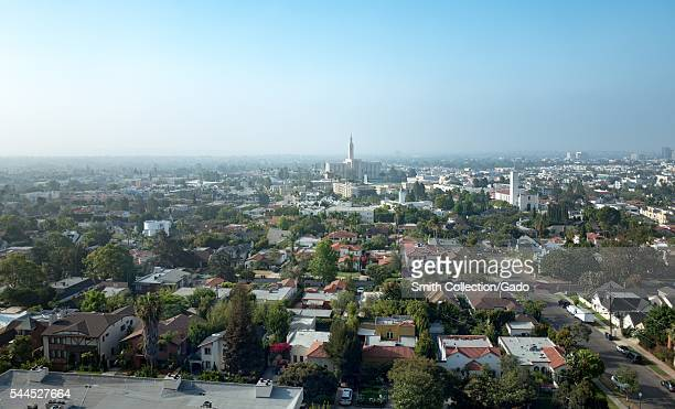 Aerial view of the Westwood neighborhood of Los Angeles on a hazy morning, with the Los Angeles Temple of the Church of Jesus Christ of Latter-Day...