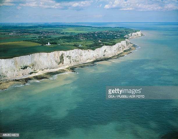 Aerial view of the white cliffs of Dover County of Kent England United Kingdom