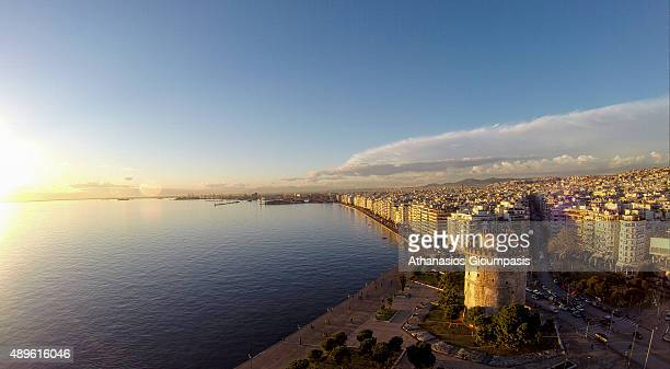 Aerial view of The White Tower of Thessaloniki on August 28 2015 in Thessaloniki Greece The White Tower of Thessaloniki is a monument and museum on...