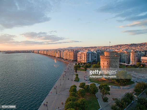 Aerial view of The White Tower of Thessaloniki on September 22 2016 in Thessaloniki Greece The White Tower of Thessaloniki is a monument and museum...