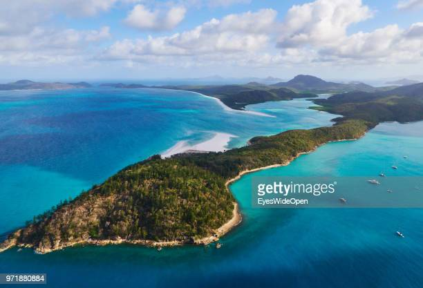 Aerial view of the Whitsunday Islands in the pacific ocean on November 20 2015 in Whitsunday Islands Australia