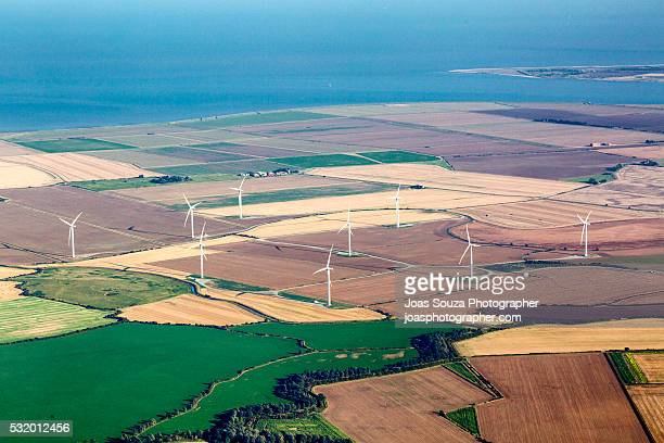 Aerial view of the wind farms in Monsale, England.