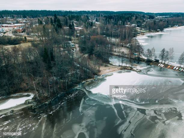 aerial view of the winter frozen lake captured with a drone in finland - climate stock pictures, royalty-free photos & images