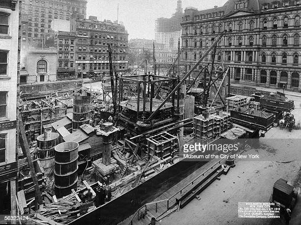 Aerial view of the Woolworth Building construction site from the southwest corner New York New York July 8 1910
