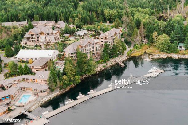aerial view of the world acclaimed sonora island resort - planchas_de_plata,_sonora stock pictures, royalty-free photos & images