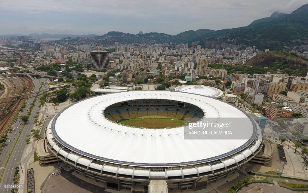 Aerial view of the world-famous Maracana Stadium in Rio de Janeiro on January 18, 2017