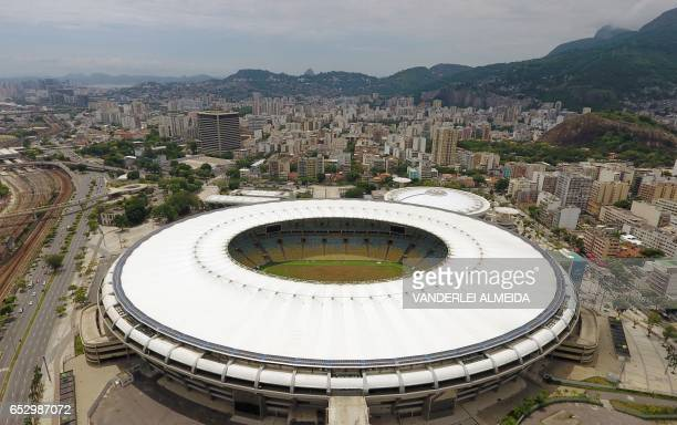 Aerial view of the worldfamous Maracana Stadium in Rio de Janeiro on January 18 2017 The major refurbishment of Rio's famous Maracana football...