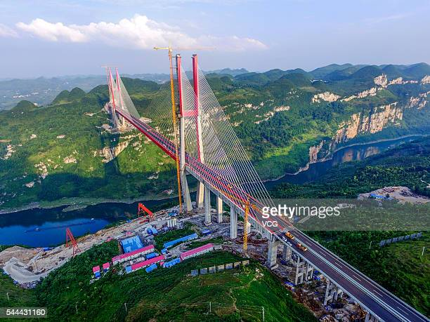Aerial view of the Yachi River Bridge on June 29 2016 in Guiyang Guizhou Province of China The Yachi River Bridge has the largest span in Guizhou...