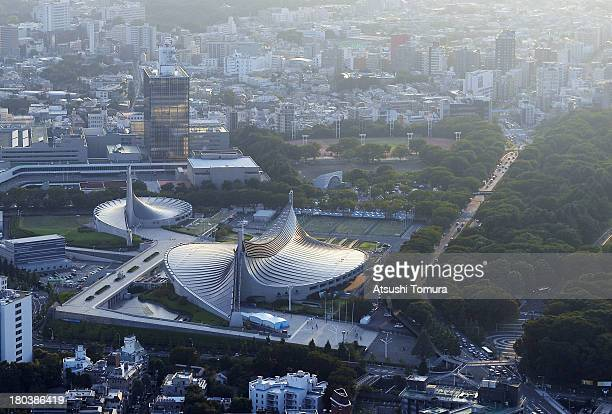 Aerial view of the Yoyogi national stadium which will host the Handball events during the Tokyo 2020 Olympic Games on September 12 2013 in Tokyo...
