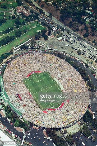 Aerial view of the1994 FIFA World Cup Final against Italy on 17 July 1994 played at the Rose Bowl in Pasadena California United States Brazil...