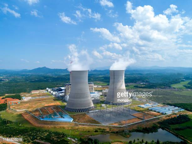 aerial view of thermal power plant - power station stock pictures, royalty-free photos & images