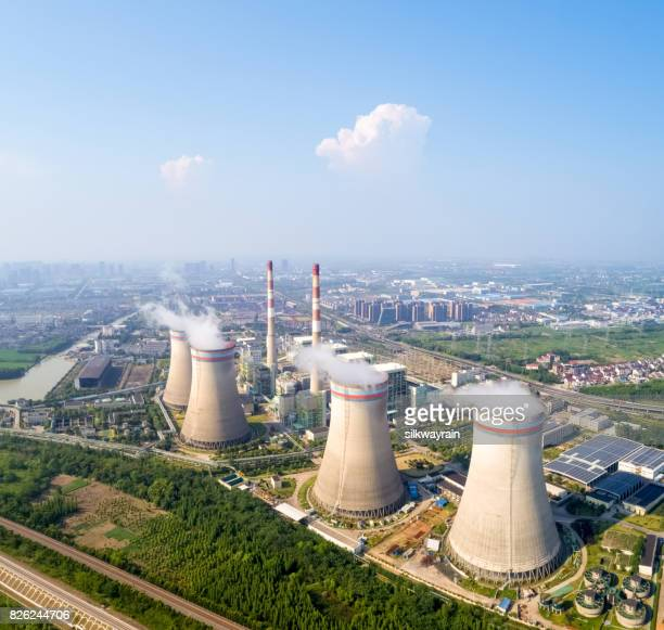 aerial view of thermal power plant - atomic imagery stock pictures, royalty-free photos & images