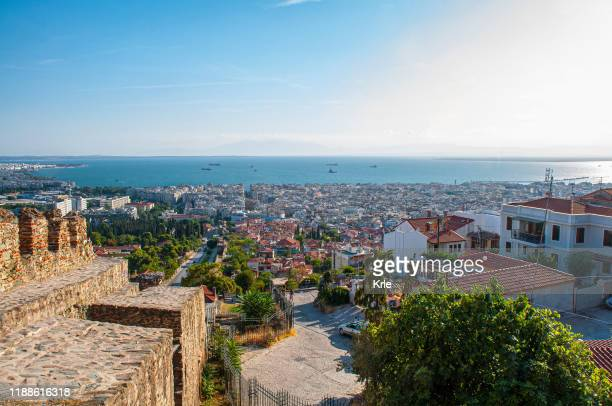 aerial view of thessaloniki - thessaloniki stock pictures, royalty-free photos & images