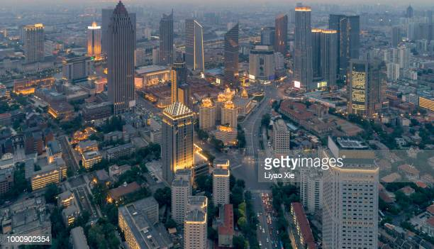 aerial view of tianjin business area - liyao xie stock pictures, royalty-free photos & images