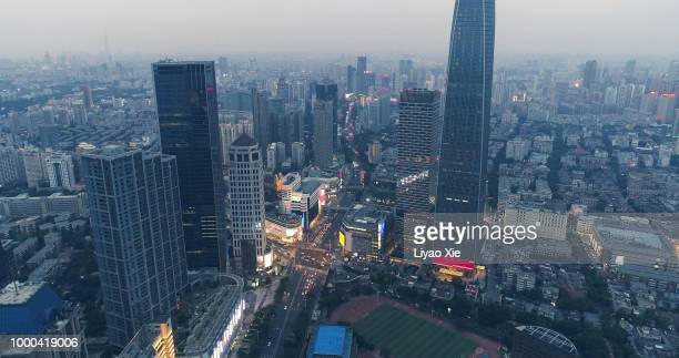 aerial view of tianjin business district - liyao xie stock pictures, royalty-free photos & images
