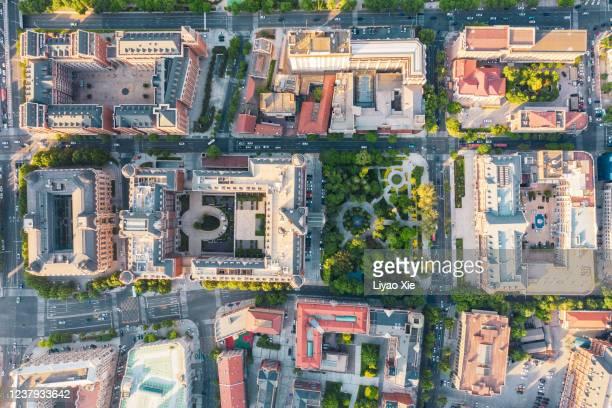 aerial view of tianjin cityscape - liyao xie stock-fotos und bilder