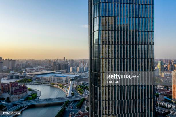 aerial view of tianjin cityscape - liyao xie stock pictures, royalty-free photos & images