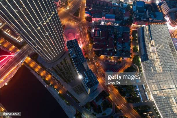 aerial view of tianjin commercial district - liyao xie stock pictures, royalty-free photos & images