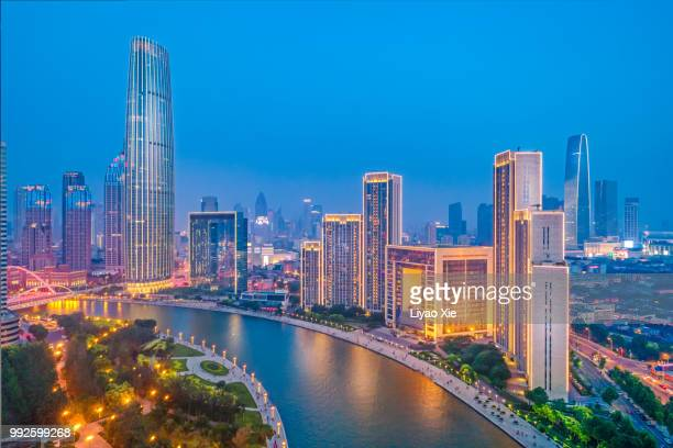 aerial view of tianjin haihe river - liyao xie stock pictures, royalty-free photos & images