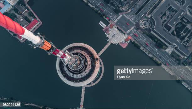 aerial view of tianjin radio and television tower - telecommunications equipment stock photos and pictures