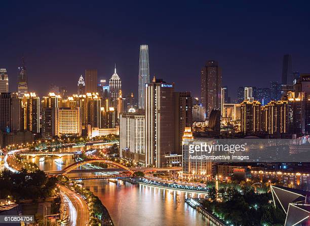 Aerial View of Tianjin Skyline at Night