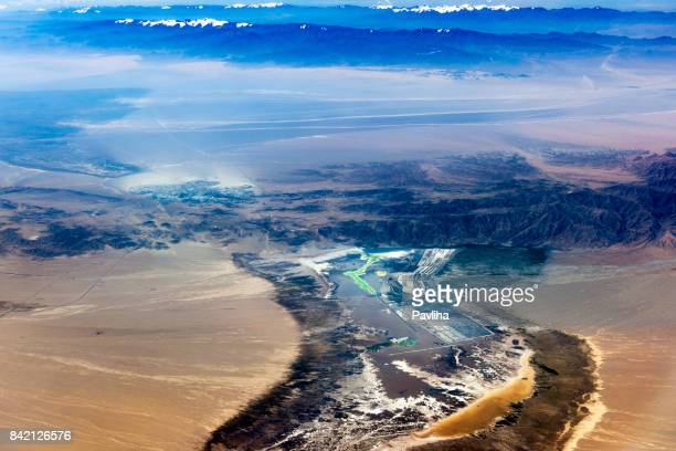 Aerial View of Tibet and Taklamakan Desert in China, Asia
