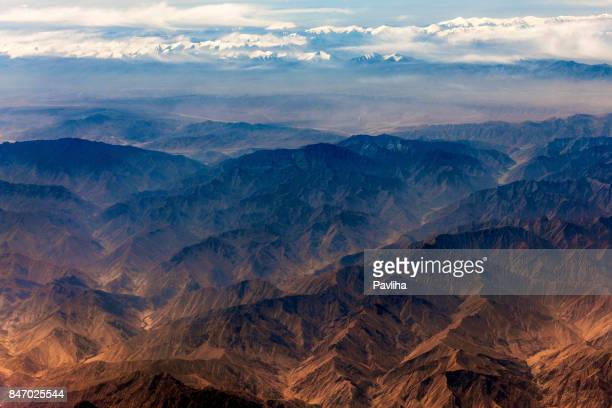 aerial view of tibet and taklamakan desert in china, asia - august stock pictures, royalty-free photos & images