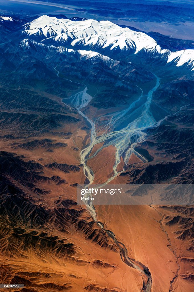 Aerial View of Tibet and Taklamakan Desert in China, Asia : Stock Photo