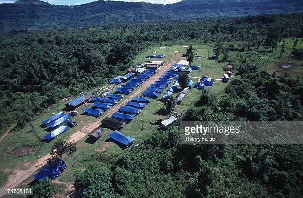 Aerial view of Tiger Camp the base camp of the US military team that is searching for American military personnel killed and listed as Missing in...