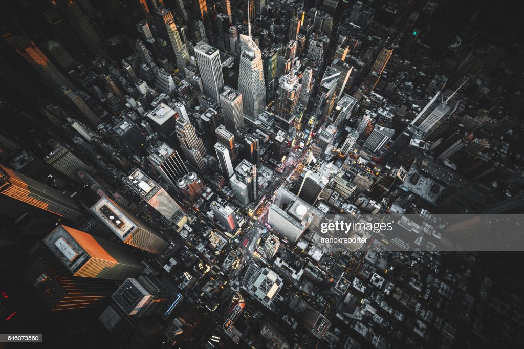 aerial view of times square at night : Stock Photo