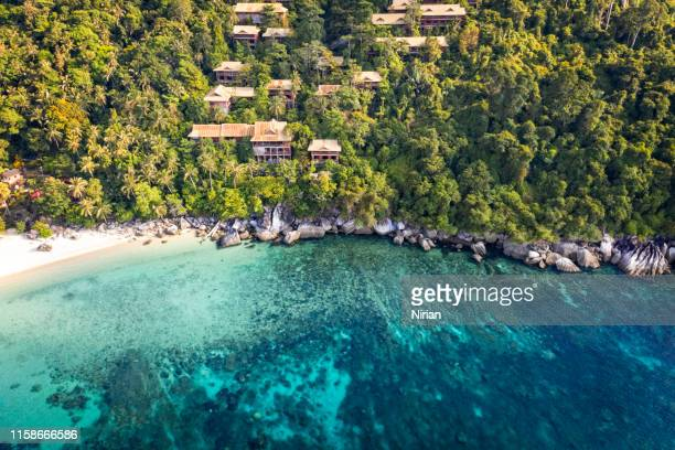 aerial view of tioman island - malaysia stock pictures, royalty-free photos & images